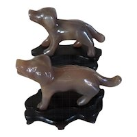 Antique Pair Carved Jade Chinese Hounds on Wood Stands