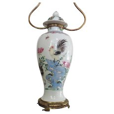 Antique 19th century Chinese Export Porcelain Vase & Cover Decorated with Cockerel in Famille Rose Glaze Mounted as a Lamp