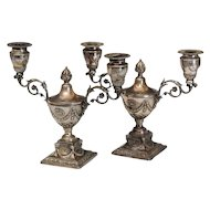 Pair Antique 19th century Sheffield Silver Plate Urn Form Candelabra.