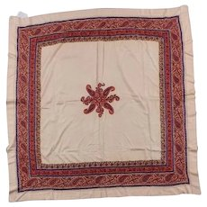 Antique 19th century Hand Embroidered Silk Paisley Shawl or Scarf