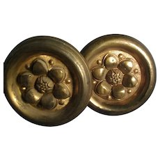 Pair Giant 19th century Federal American Classical Gilt Spun Brass Drapery Curtain Tie Backs