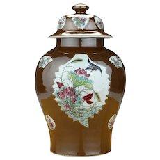 Large Antique 19th century Chinese Export Porcelain Vase with Famille Rose Batavian Glaze