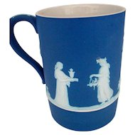Antique 19th century Wedgwood Neoclassical Blue Jasperware Tankard Mug