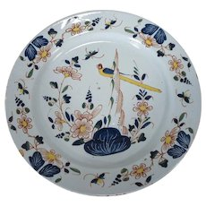 Antique 18th century English Delft Tin Glaze Faience Polychrome Charger Platter