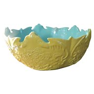 Antique 19th century Chinese Porcelain Bat Bowl in Imperial Yellow with Turquoise Interior
