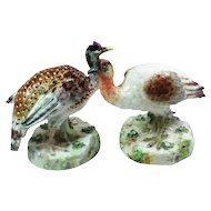 Pair Antique 19th century Volkstedt German Porcelain Game Bird Figures - Pheasant & Partridge