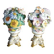 Pair Large Early 19th century English Regency Derby Porcelain Flower Trophy Vase Centerpieces