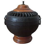 Antique 19th century Japanese Iron Censer Urn Mounted as a Lamp