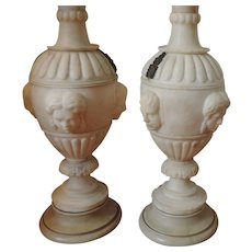 Pair Antique 19th century Carved Marble Vase Urns with Classical Masks Mounted as Lamps - Large Size