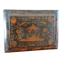 Antique 19th century English Regency Penwork Jewelry Stationery Desk Box in Chinese Lacquer Taste