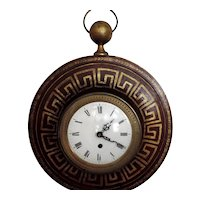 Antique French Charles X Tole Cartel Wall Clock - Early 19th century