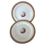 Pair Antique Early 19th century English Creamware Plates Emblematic of Hope 1820