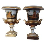 Pair Antique French Empire 19th century Old Paris Porcelain Campagna Urn Vases