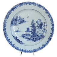 Antique 18th century Chinese Export Porcelain Blue & White Charger Plate