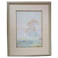 John Clifford Huffington (1864 - 1929) 19th c. Gouache - Painting of Connecticut landscape.