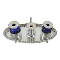Antique Old Sheffield Plate Silver on Copper Edwardian Ink Well Standish with Cobalt Glass Ink Pots