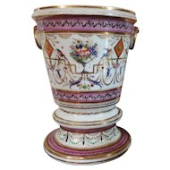 Antique Old Paris Porcelain Cache Pot Planter Flower Vase 18th century