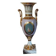 Antique Early 19th century French Empire Old Paris Porcelain Neoclassical Urn Vase 1805 - 1810