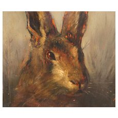 Antique 19th century Oil Painting on Wood Panel Portrait of a Hare in Gilt Wood Frame