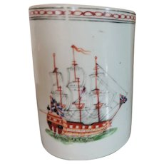 Antique 18th century Chinese Export Porcelain Tankard Mug Decorated with a Sailing Ship