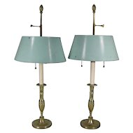 Pair 18th century French Directoire Candlesticks now Mounted as Bouillotte Lamps with Tole Shades