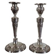 Pair Antique George III Old Sheffield Silver on Copper Candlesticks in the Adam Taste 1790