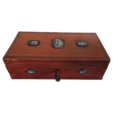 Antique 18th century Satinwood Box with neoclassical Wedgwood Jasperware Plaques Set in Bright Cut Steel 1785