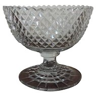 Antique Early 19th century Anglo Irish Diamond Cut Glass Footed Compote Crystal