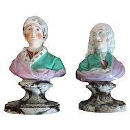 Antique 18th century English Staffordshire Pearlware Classical Busts of Voltaire and Rousseau