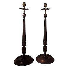 Pair Antique 19th century English Georgian Style Carved Mahogany and Brass Tall Candlestick Lamps