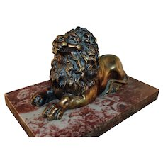 Antique 19th c. English Regency Bronze Model of the Trafalgar Lion on Rouge Marble Base