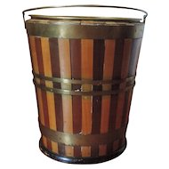 Antique 19th century English Regency Peat Bucket with Brass Liner