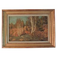 Antique Russian Autumn Landscape of a Birch Tree Forest Oil Painting on Board Signed & Dated 1917