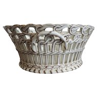 Antique 19th century French Luneville Pottery Reticulated Centerpiece Basket Bowl in White & Gold