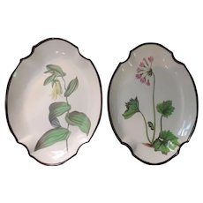 Pair Antique Early 19th c. English George III Swansea Creamware Botanical Pearlware Quatrefoil Shaped Dishes