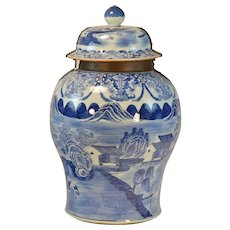 Giant 18th century Chinese Blue & White Porcelain Palace Floor Vase or Jar with Cover Decorated with Landscape Scene