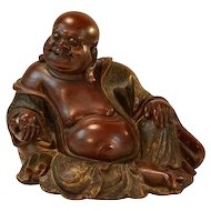 Large Antique 18th century Chinese Carved Wood & Lacquer Figure of the Laughing Buddha