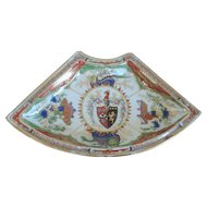 Antique 18th century English George III Chamberlains Worcester Imari Dragon in Compartment Armorial Plate Bowl