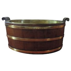 Antique 18th century George III Mahogany Brass Bound Wine Tub or Planter