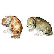 Pair Antique 18th century Continental Tin Glaze Faience Models of Spaniel Dogs
