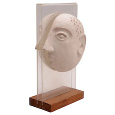 Mid Century Modern Sculpture Bust Head on Lucite by David Gil for Bennington Pottery