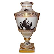 Antique Early 19th century Coalport Porcelain Urn Vase Decorated en Grisaille with Neoclassical Silhouettes 1805