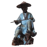 Large Antique 19th century Chinese Porcelain Figure of a Fisherman