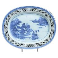 Antique 18th century Chinese Export Blue & White Porcelain Platter with Reticulated Pierced Border