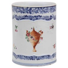 Antique 18th century Chinese Export Porcelain Blue and White Tankard Mug with Urn