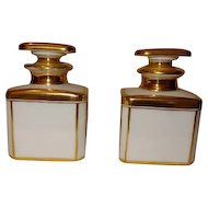 Pair Antique Early 19th century Old Paris Porcelain White & Gold Perfume Scent Bottles