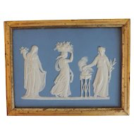 Antique 19th century Wedgwood Jasperware Neoclassical Wall Plaque in Gilt Wood Frame