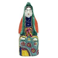 Antique 18th century Chinese Porcelain Kwan Yin Figure in Famille Rose Palette