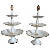 Pair Antique Early 19th century French Empire Old Paris Porcelain Three Tier Dessert Tazza in White & Gold Edouard Honore