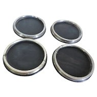 Set 4 Antique 19th century Dutch Neoclassical Silver & Ebony Hardwood Wine Coasters